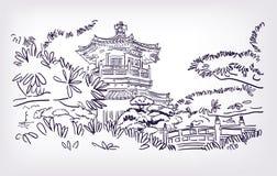 Boeddhistische de illustratieschets van tempelhong kong vector illustratie