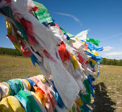 Boeddhistische gebedvlaggen Stock Foto's