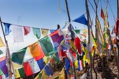 Boeddhistische gebedvlaggen op een bergtop in het Himalayagebergte stock afbeeldingen