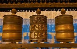 Boeddhistische gebedwielen in Swayambhunath Royalty-vrije Stock Foto's