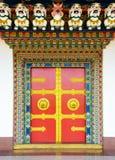 Boeddhistische kloosterdeur in Nepal Stock Afbeeldingen