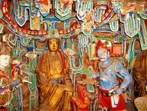 Boeddhistische kunst en beeldhouwwerk, heldere kleuren en godsdienst stock afbeeldingen
