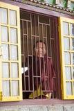 Boeddhistische monnik bij het Pemayangtse-Klooster, Sikkim, India royalty-vrije stock afbeelding