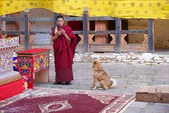 Boeddhistische monnik in Jakar Dzong, Jakar, Bhutan stock afbeeldingen