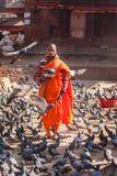 Boeddhistische monnik, Katmandu stock fotografie