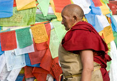 Boeddhistische monnik in Tibet Stock Foto's