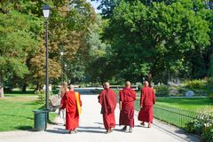 Boeddhistische monniken of priesters die in rode robe in een mooi groen park lopen stock afbeeldingen