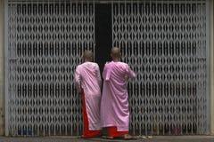 Boeddhistische nonnen in Myanmar royalty-vrije stock afbeelding