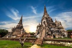 Boeddhistische pagoderuïnes bij Wat Phra Sri Sanphet-tempel Ayutthaya, Thailand stock foto's