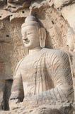 Boeddhistische standbeelden in Hol 20 van Grotten Yungang Royalty-vrije Stock Afbeeldingen