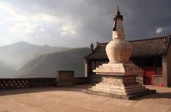 Boeddhistische Stupa bij de het Plaatsen Zon in Nanshan-Tempel, Wutaishan, Royalty-vrije Stock Afbeeldingen