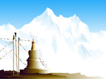 Boeddhistische stupa in Himalayagebergte Stock Afbeelding