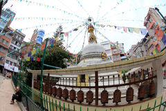 Boeddhistische Stupa in Katmandu, Nepal in Katmandu, Nepal op April Stock Foto