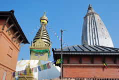 Boeddhistische stupa van Swayambhunath - tempel - Katmandu royalty-vrije stock foto
