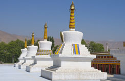Boeddhistische stupas, Tongren, China stock foto