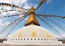 Boeddhistische tempel Bodhnath stock foto's