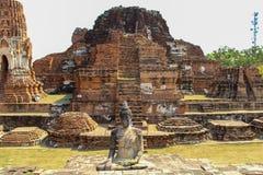 Boeddhistische tempel met oude stupa in Ayutthaya, Bangkok, Thailand royalty-vrije stock fotografie