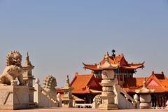 Boeddhistische Tempelleeuwen Royalty-vrije Stock Fotografie