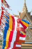 Boeddhistische vlaggen in Kambodja Stock Foto's