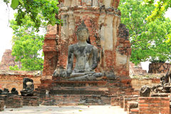 Boedha bij Watmahathat-Tempel in Ayudhaya, Thailand Royalty-vrije Stock Foto