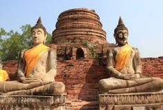 Boedha bij Watyaichaimongkol-Tempel in Ayudhaya, Thailand Royalty-vrije Stock Afbeelding