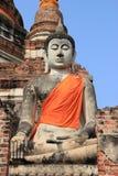 Boedha bij Watyaichaimongkol-Tempel in Ayutthaya, Thailand Royalty-vrije Stock Afbeeldingen