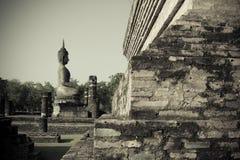 Boedha in de Historische parken van Sukhothai van Thailand Stock Fotografie