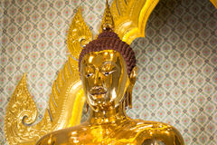 Boedha headshot bij Wat Traimit-tempel, Bangkok, Thailand Stock Foto's