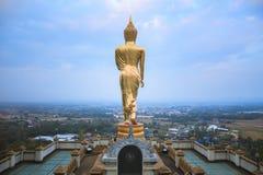 Boedha in het Lopen Houding, Wat Phra That Khao Noi Royalty-vrije Stock Foto