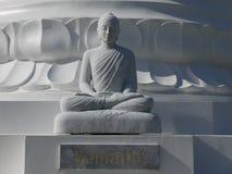 Boedha: het witte steencijfer mediteren Royalty-vrije Stock Fotografie