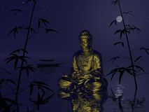 Boedha op het 3d water - geef terug Stock Afbeeldingen