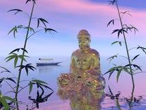 Boedha op het 3d water - geef terug Royalty-vrije Stock Afbeelding