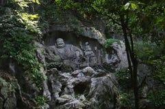 Boedha op het toneelgebied van Lingyin Royalty-vrije Stock Afbeeldingen