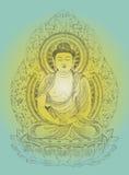 Boedha op Lotus Flower Royalty-vrije Stock Afbeeldingen