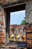 Boedha van Putthaisawan-Tempel Ayutthaya, Thailand Stock Foto's