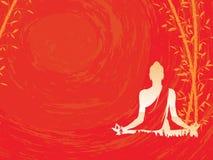 Boedha vector, Abstracte Boedha met bamboe op rode achtergrond, Boedha en aard, meditatie stock illustratie