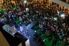Boedha zegent muziekband het zingen. Centrale Ladprao. Stock Foto's