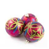 Bożego Narodzenia trzy baubles Zdjęcie Royalty Free