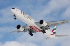Boeing 777 émirats Photo libre de droits
