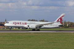 Boeing 787 από Quatar στοκ εικόνα
