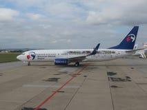 Boeing 737-800 με το moravian-Silesian λογότυπο περιοχών Στοκ εικόνα με δικαίωμα ελεύθερης χρήσης