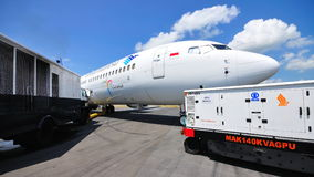 Boeing 737-800 on display at Singapore Airshow Stock Photo