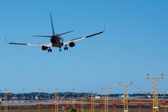 Boeing 737 in crosswind landing. Royalty Free Stock Photography