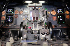 Boeing 737 flight deck. In details. with equipment turned on Royalty Free Stock Photo