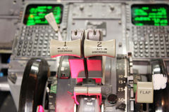 Boeing 737 flight deck. In details Stock Photography