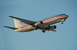 Boeing 737 in silver color Royalty Free Stock Image