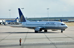 Boeing 737 United Airlines. Continental and United merged and they form the biggest airline company in the world. The new company has the United name and The Royalty Free Stock Images