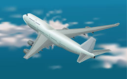 Boeing 747. Top view of a Boeing 747 in the sky Royalty Free Stock Image