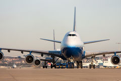 Boeing 747 airliner on runway Stock Photography