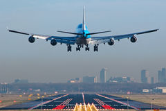 Boeing 747 airplane about to touchdown Royalty Free Stock Photo